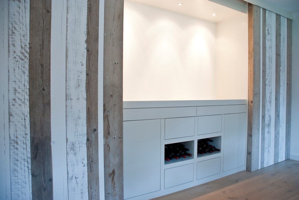 Cabinet with large scaffold wooden sliding doors
