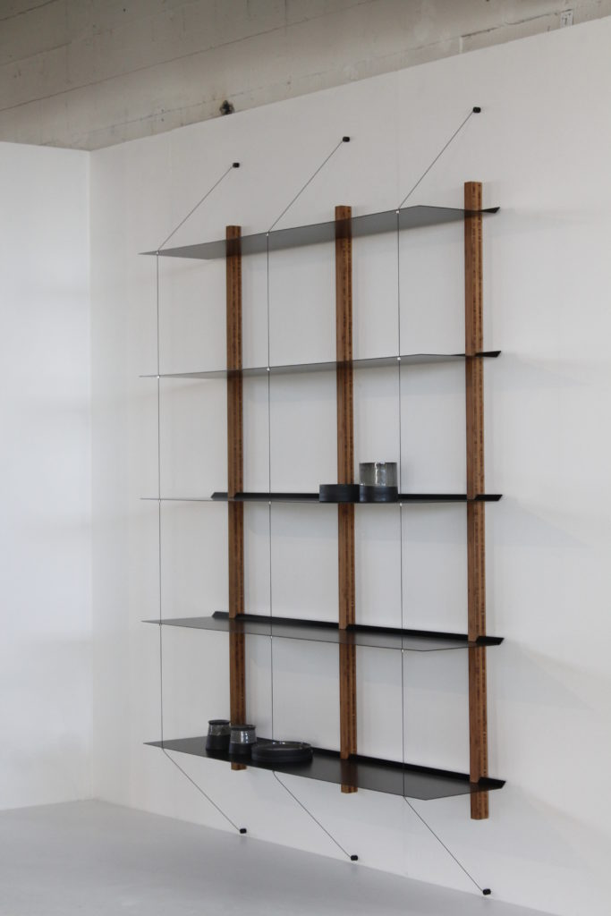 matt black shelves in combination with a bamboo frame, H 220 cm x W 140 cm